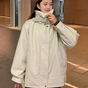 Imitation Lamb Stand Up Collar Wide Coat (1) - My Sweet Outfit - EGirl Outfits - Soft Girl Clothes Aesthetic - Grunge Korean Fashion Tumblr Hip Emo Rap