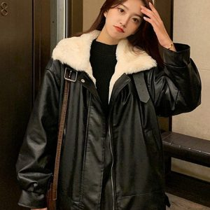 Imitation Lamb Stand Up Collar Wide Coat (3) - My Sweet Outfit - EGirl Outfits - Soft Girl Clothes Aesthetic - Grunge Korean Fashion Tumblr Hip Emo Rap