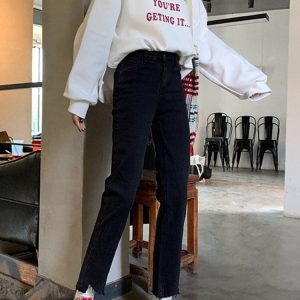 Irregular Edges Stretch Short Jeans 2 - My Sweet Outfit - EGirl Outfits - Soft Girl Clothes Aesthetic - Grunge Korean Fashion Tumblr Hip Emo Rap