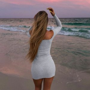Knitted Slim Buttoned Long Sleeved Dress (3) - My Sweet Outfit - EGirl Outfits - Soft Girl Clothes Aesthetic - Grunge Korean Fashion Tumblr Hip Emo Rap