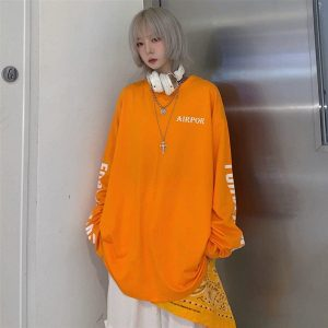 Korean Style Letters Print Sleeve Sweatshirt (3) - My Sweet Outfit - EGirl Outfits - Soft Girl Clothes Aesthetic - Grunge Korean Fashion Tumblr Hip Emo Rap