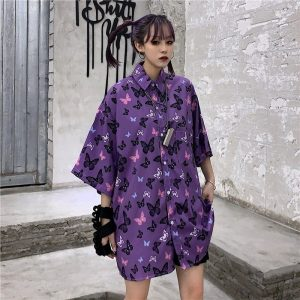 Korean Style Purple Butterfly Print Shirt 3 - My Sweet Outfit - EGirl Outfits - Soft Girl Clothes Aesthetic - Grunge Korean Fashion Tumblr Hip Emo Rap