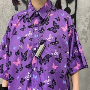 Korean Style Purple Butterfly Print Shirt 4 - My Sweet Outfit - EGirl Outfits - Soft Girl Clothes Aesthetic - Grunge Korean Fashion Tumblr Hip Emo Rap