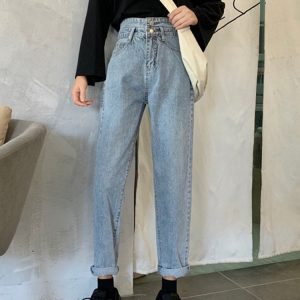 Light Color Loose Double Buttons Jeans 1 - My Sweet Outfit - EGirl Outfits - Soft Girl Clothes Aesthetic - Grunge Korean Fashion Tumblr Hip Emo Rap