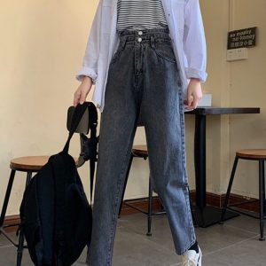 Light Color Loose Double Buttons Jeans 4 - My Sweet Outfit - EGirl Outfits - Soft Girl Clothes Aesthetic - Grunge Korean Fashion Tumblr Hip Emo Rap