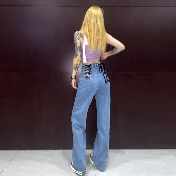 Loin Bandage Hollowed Wide Leg Pants 1 - My Sweet Outfit - EGirl Outfits - Soft Girl Clothes Aesthetic - Grunge Korean Fashion Tumblr Hip Emo Rap
