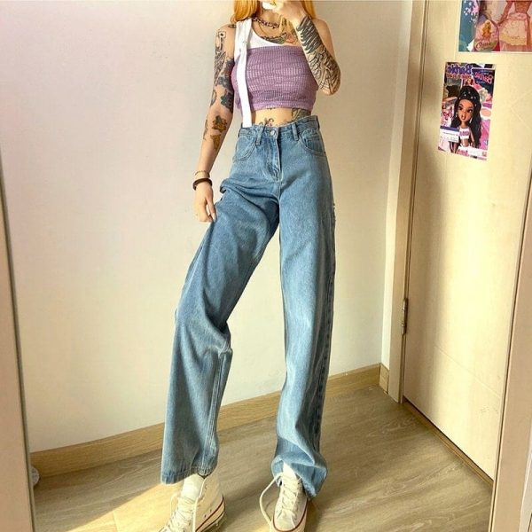 Loin Bandage Hollowed Wide Leg Pants 2 - My Sweet Outfit - EGirl Outfits - Soft Girl Clothes Aesthetic - Grunge Korean Fashion Tumblr Hip Emo Rap