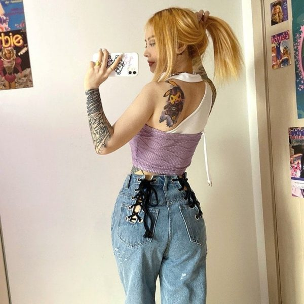 Loin Bandage Hollowed Wide Leg Pants 3 - My Sweet Outfit - EGirl Outfits - Soft Girl Clothes Aesthetic - Grunge Korean Fashion Tumblr Hip Emo Rap