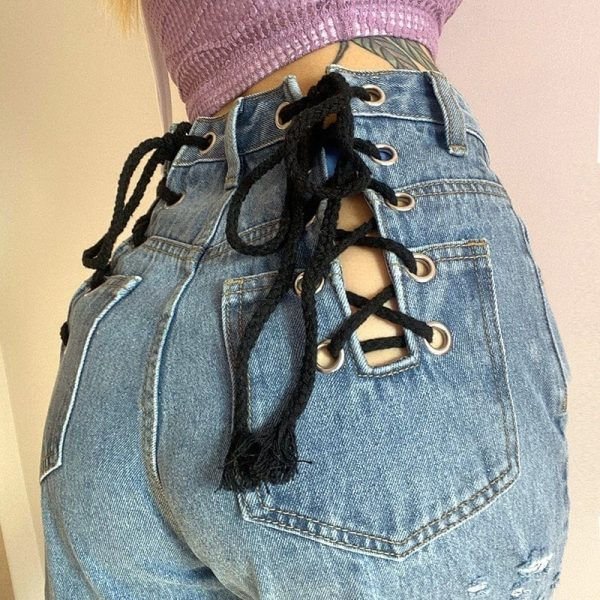 Loin Bandage Hollowed Wide Leg Pants 4 - My Sweet Outfit - EGirl Outfits - Soft Girl Clothes Aesthetic - Grunge Korean Fashion Tumblr Hip Emo Rap