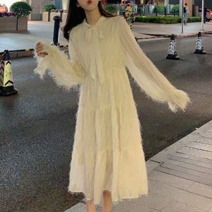 Long Fringed Puff Sleeves Bow Dress (1) - My Sweet Outfit - EGirl Outfits - Soft Girl Clothes Aesthetic - Grunge Korean Fashion Tumblr Hip Emo Rap