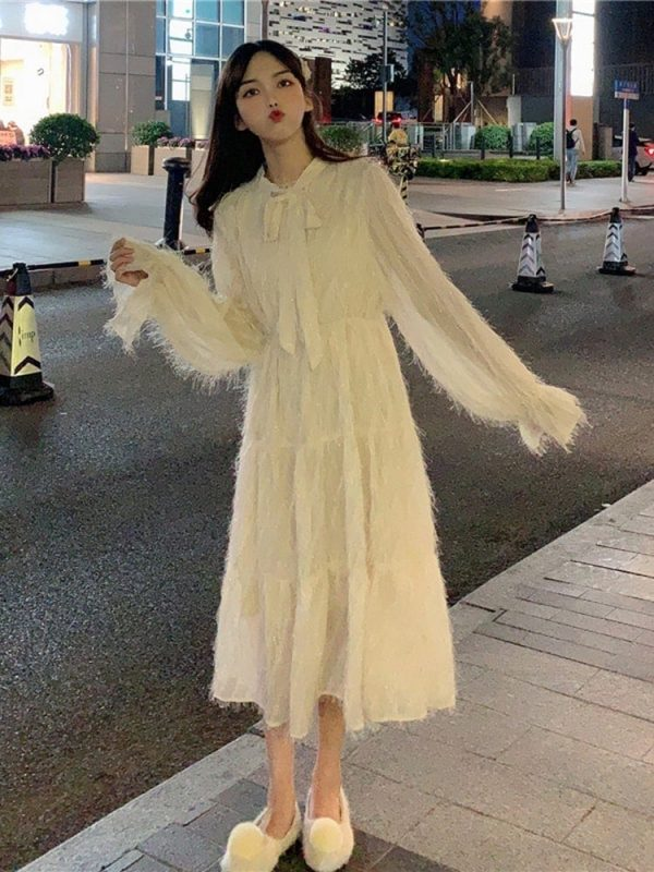 Long Fringed Puff Sleeves Bow Dress 1 - My Sweet Outfit - EGirl Outfits - Soft Girl Clothes Aesthetic - Grunge Korean Fashion Tumblr Hip Emo Rap