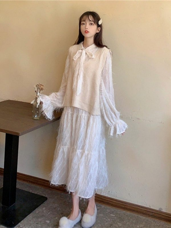Long Fringed Puff Sleeves Bow Dress 2 - My Sweet Outfit - EGirl Outfits - Soft Girl Clothes Aesthetic - Grunge Korean Fashion Tumblr Hip Emo Rap
