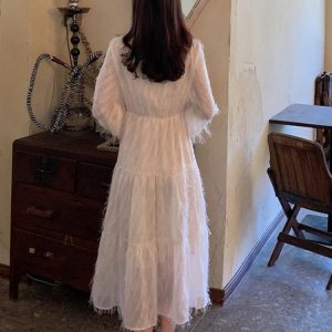 Long Fringed Puff Sleeves Bow Dress (3) - My Sweet Outfit - EGirl Outfits - Soft Girl Clothes Aesthetic - Grunge Korean Fashion Tumblr Hip Emo Rap