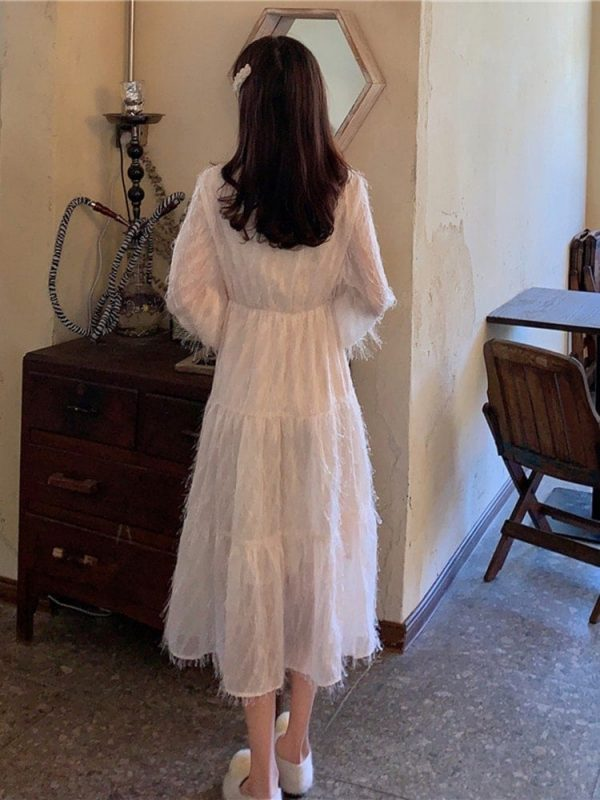 Long Fringed Puff Sleeves Bow Dress 3 - My Sweet Outfit - EGirl Outfits - Soft Girl Clothes Aesthetic - Grunge Korean Fashion Tumblr Hip Emo Rap