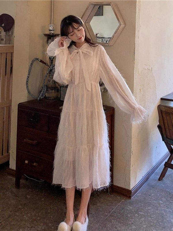 Long Fringed Puff Sleeves Bow Dress 4 - My Sweet Outfit - EGirl Outfits - Soft Girl Clothes Aesthetic - Grunge Korean Fashion Tumblr Hip Emo Rap