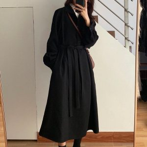 Long Jacket Belt Dress With Collar (1) - My Sweet Outfit - EGirl Outfits - Soft Girl Clothes Aesthetic - Grunge Korean Fashion Tumblr Hip Emo Rap