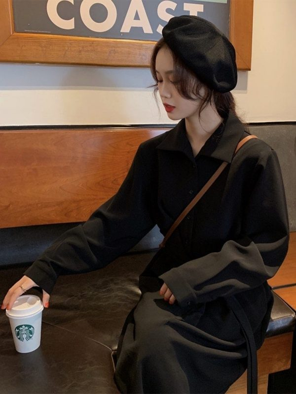 Long Jacket Belt Dress With Collar (2) - My Sweet Outfit - EGirl Outfits - Soft Girl Clothes Aesthetic - Grunge Korean Fashion Tumblr Hip Emo Rap