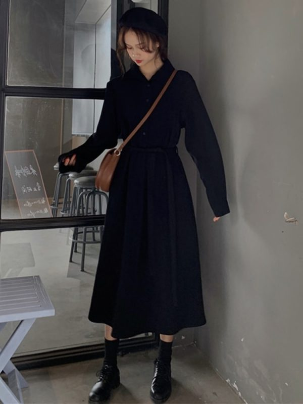 Long Jacket Belt Dress With Collar (3) - My Sweet Outfit - EGirl Outfits - Soft Girl Clothes Aesthetic - Grunge Korean Fashion Tumblr Hip Emo Rap