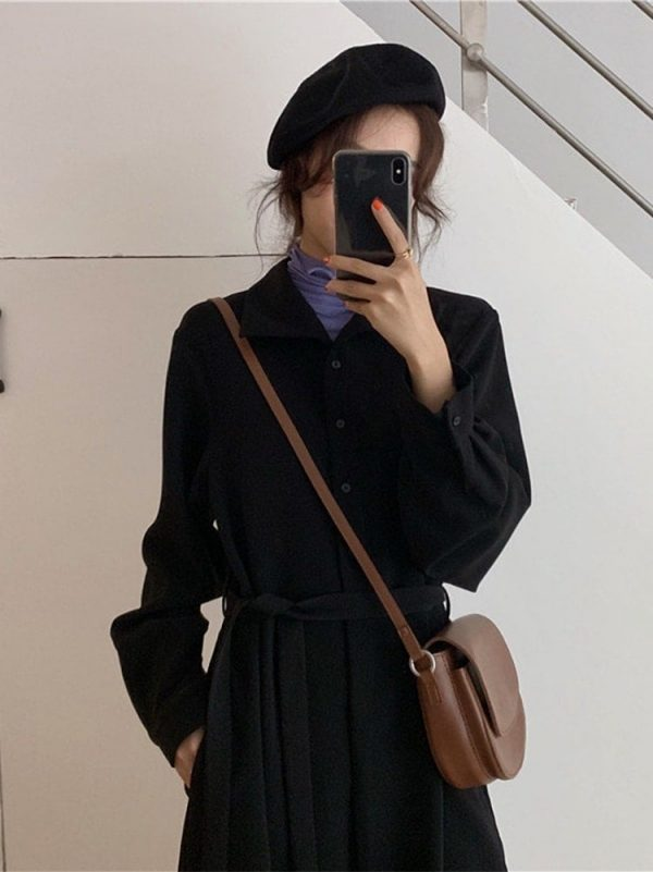 Long Jacket Belt Dress With Collar (4) - My Sweet Outfit - EGirl Outfits - Soft Girl Clothes Aesthetic - Grunge Korean Fashion Tumblr Hip Emo Rap