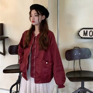 Long Sleeve High Collar Bomber Jacket 1 - My Sweet Outfit - EGirl Outfits - Soft Girl Clothes Aesthetic - Grunge Korean Fashion Tumblr Hip Emo Rap