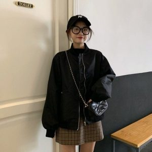 Long Sleeve High Collar Bomber Jacket 4 - My Sweet Outfit - EGirl Outfits - Soft Girl Clothes Aesthetic - Grunge Korean Fashion Tumblr Hip Emo Rap