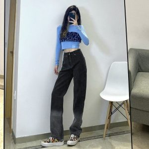 Love Heart Washed Loose Jeans 1 - My Sweet Outfit - EGirl Outfits - Soft Girl Clothes Aesthetic - Grunge Korean Fashion Tumblr Hip Emo Rap