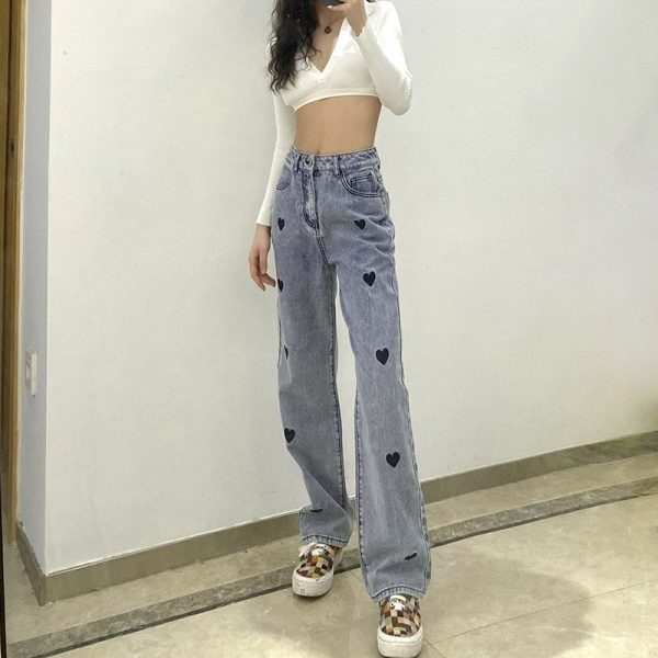 Love Print Loose High Waist Jeans 1 - My Sweet Outfit - EGirl Outfits - Soft Girl Clothes Aesthetic - Grunge Korean Fashion Tumblr Hip Emo Rap Trap