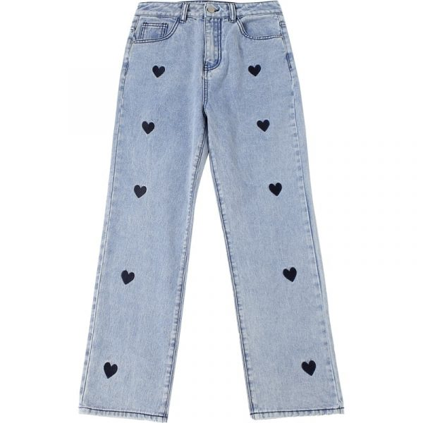 Love Print Loose High Waist Jeans 2 - My Sweet Outfit - EGirl Outfits - Soft Girl Clothes Aesthetic - Grunge Korean Fashion Tumblr Hip Emo Rap Trap