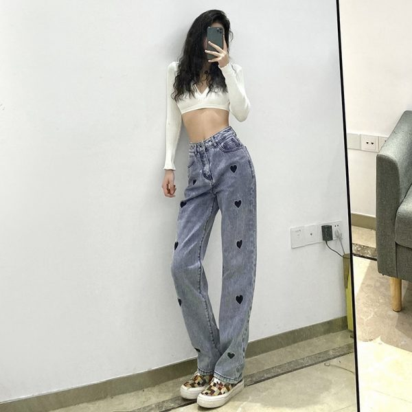 Love Print Loose High Waist Jeans 3 - My Sweet Outfit - EGirl Outfits - Soft Girl Clothes Aesthetic - Grunge Korean Fashion Tumblr Hip Emo Rap Trap