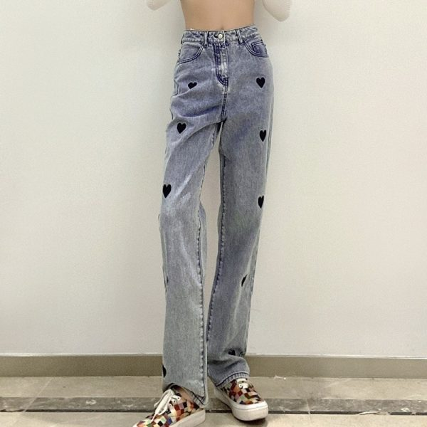 Love Print Loose High Waist Jeans 4 - My Sweet Outfit - EGirl Outfits - Soft Girl Clothes Aesthetic - Grunge Korean Fashion Tumblr Hip Emo Rap Trap