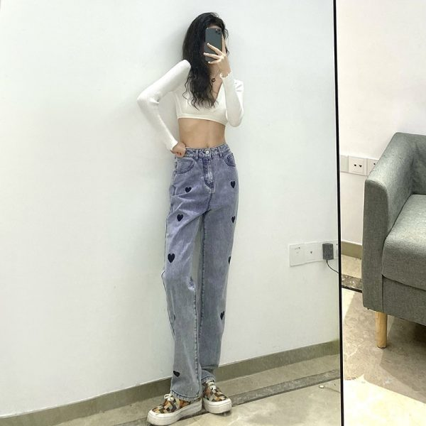 Love Print Loose High Waist Jeans 5 - My Sweet Outfit - EGirl Outfits - Soft Girl Clothes Aesthetic - Grunge Korean Fashion Tumblr Hip Emo Rap Trap