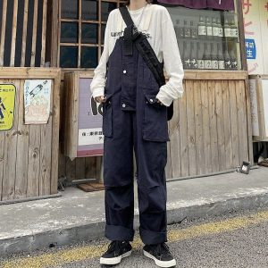 Multi Pockets White Straps Jumpsuit (4) - My Sweet Outfit - EGirl Outfits - Soft Girl Clothes Aesthetic - Grunge Korean Fashion Tumblr Hip Emo Rap