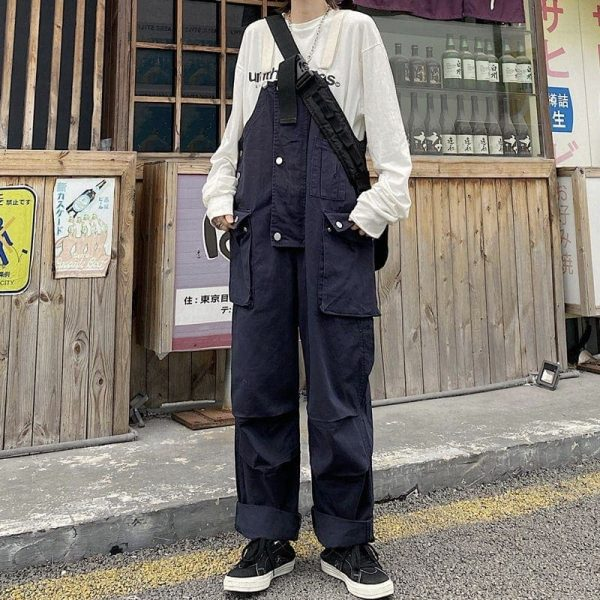 Multi Pockets White Straps Jumpsuit 4 - My Sweet Outfit - EGirl Outfits - Soft Girl Clothes Aesthetic - Grunge Korean Fashion Tumblr Hip Emo Rap