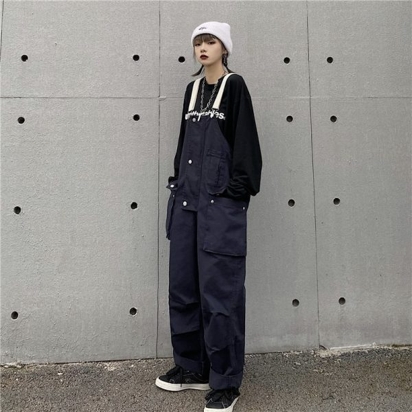 Multi Pockets White Straps Jumpsuit (5) - My Sweet Outfit - EGirl Outfits - Soft Girl Clothes Aesthetic - Grunge Korean Fashion Tumblr Hip Emo Rap