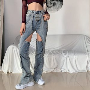 Niche Design Removable Patch Jeans 3 - My Sweet Outfit - EGirl Outfits - Soft Girl Clothes Aesthetic - Grunge Korean Fashion Tumblr Hip Emo Rap