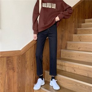 Nine Point Slim Straight Jeans 1 - My Sweet Outfit - EGirl Outfits - Soft Girl Clothes Aesthetic - Grunge Korean Fashion Tumblr Hip Emo Rap