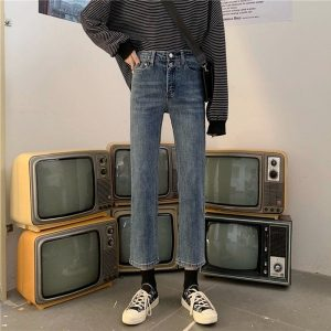 Nine Point Slim Straight Jeans 2 - My Sweet Outfit - EGirl Outfits - Soft Girl Clothes Aesthetic - Grunge Korean Fashion Tumblr Hip Emo Rap