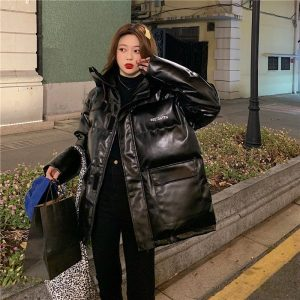 Oversize Glossy Thick Black Jacket (1) - My Sweet Outfit - EGirl Outfits - Soft Girl Clothes Aesthetic - Grunge Korean Fashion Tumblr Hip Emo Rap