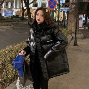 Oversize Glossy Thick Black Jacket (2) - My Sweet Outfit - EGirl Outfits - Soft Girl Clothes Aesthetic - Grunge Korean Fashion Tumblr Hip Emo Rap