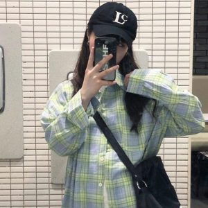 Oversized Long Sleeve Plaid Green Shirt 1 - My Sweet Outfit - EGirl Outfits - Soft Girl Clothes Aesthetic - Grunge Korean Fashion Tumblr Hip Emo Rap