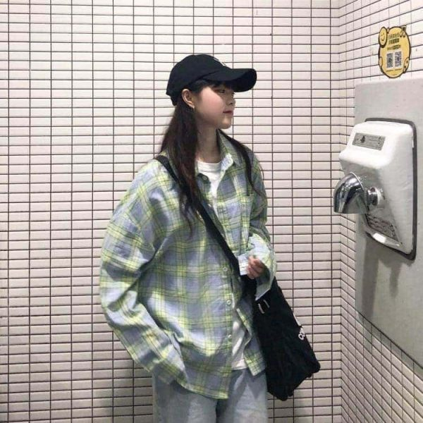 Oversized Long Sleeve Plaid Green Shirt 2 - My Sweet Outfit - EGirl Outfits - Soft Girl Clothes Aesthetic - Grunge Korean Fashion Tumblr Hip Emo Rap