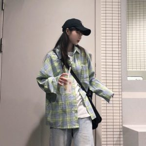 Oversized Long Sleeve Plaid Green Shirt 3 - My Sweet Outfit - EGirl Outfits - Soft Girl Clothes Aesthetic - Grunge Korean Fashion Tumblr Hip Emo Rap