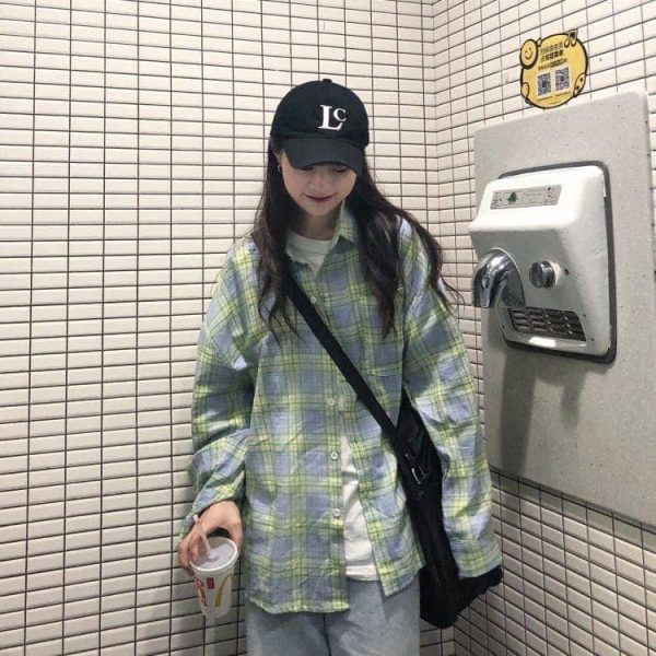 Oversized Long Sleeve Plaid Green Shirt 4 - My Sweet Outfit - EGirl Outfits - Soft Girl Clothes Aesthetic - Grunge Korean Fashion Tumblr Hip Emo Rap
