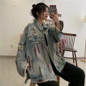 Paint Spots Denim Torn Loose Jacket (1) - My Sweet Outfit - EGirl Outfits - Soft Girl Clothes Aesthetic - Grunge Korean Fashion Tumblr Hip Emo Rap