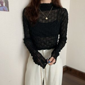 Pile Collar Slim Lace See Through Blouse 1 - My Sweet Outfit - EGirl Outfits - Soft Girl Clothes Aesthetic - Grunge Korean Fashion Tumblr Hip Emo Rap