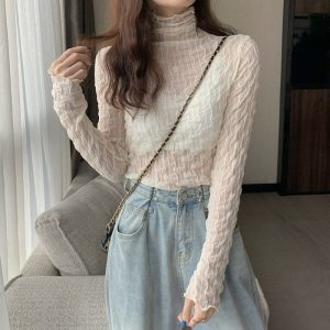 Pile Collar Slim Lace See Through Blouse 2 - My Sweet Outfit - EGirl Outfits - Soft Girl Clothes Aesthetic - Grunge Korean Fashion Tumblr Hip Emo Rap