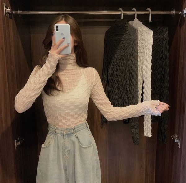 Pile Collar Slim Lace See Through Blouse 3 - My Sweet Outfit - EGirl Outfits - Soft Girl Clothes Aesthetic - Grunge Korean Fashion Tumblr Hip Emo Rap