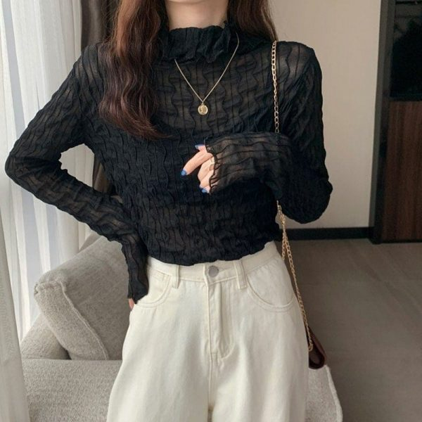 Pile Collar Slim Lace See Through Blouse 4 - My Sweet Outfit - EGirl Outfits - Soft Girl Clothes Aesthetic - Grunge Korean Fashion Tumblr Hip Emo Rap