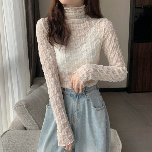Pile Collar Slim Lace See Through Blouse 5 - My Sweet Outfit - EGirl Outfits - Soft Girl Clothes Aesthetic - Grunge Korean Fashion Tumblr Hip Emo Rap