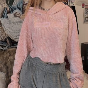 Pink Loose High Waist Crop Top Hoodie 4 - My Sweet Outfit - EGirl Outfits - Soft Girl Clothes Aesthetic - Grunge Korean Fashion Tumblr Hip Emo Rap